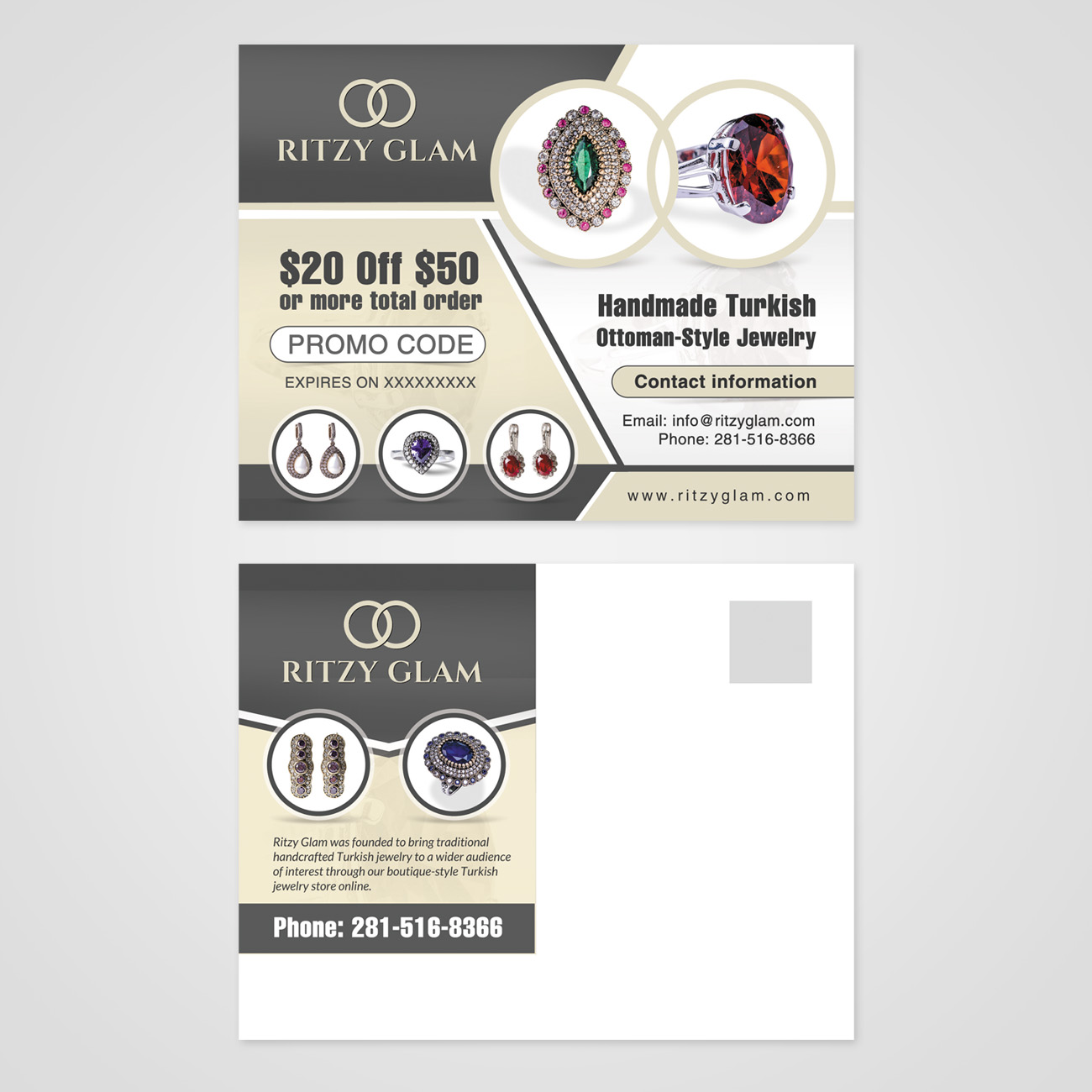 elegant playful promo postcard design for a company by debdesign