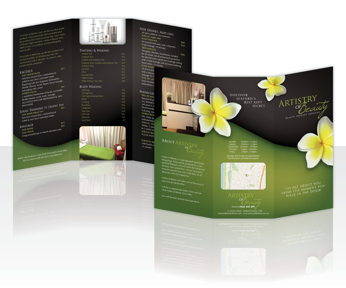 Elegant Personable Brochure Design For Artistry Of Beauty