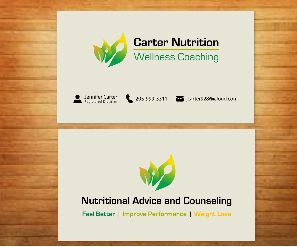 Upmarket colorful nutrition business card design for carter business card design by fadzli razali for carter nutrition design 2258627 colourmoves