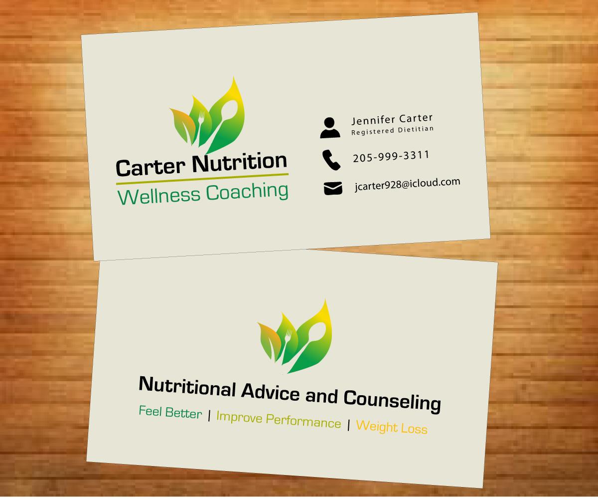 Upmarket colorful nutrition business card design for carter business card design by fadzli razali for carter nutrition design 2258629 colourmoves