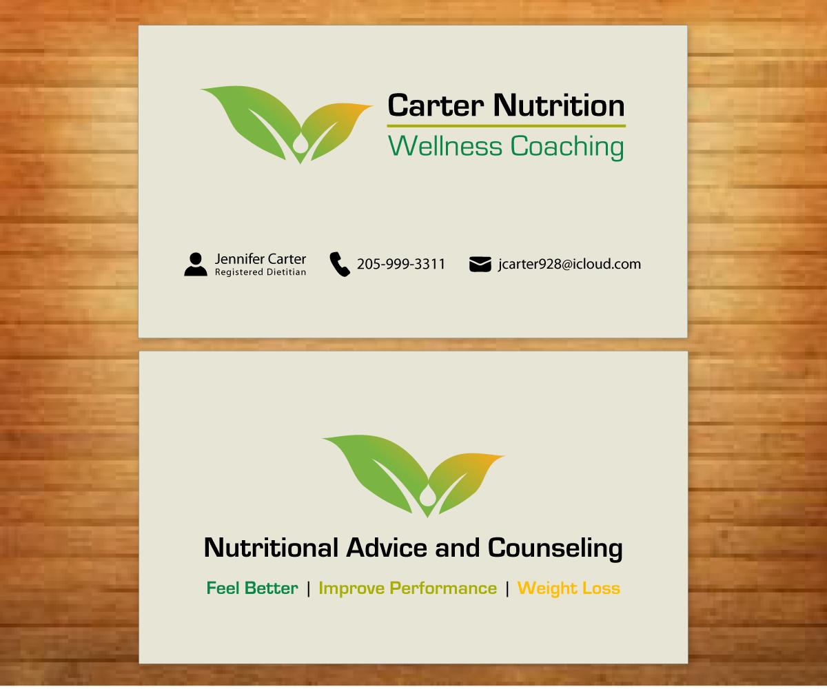 Upmarket colorful business card design design for carter for Nutrition business cards