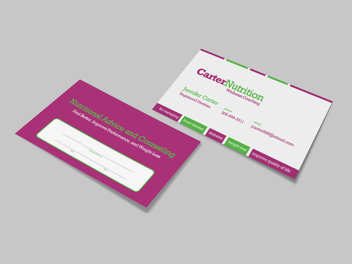 Upmarket colorful nutrition business card design for carter business card design by dirtyemm for carter nutrition design 2239853 colourmoves