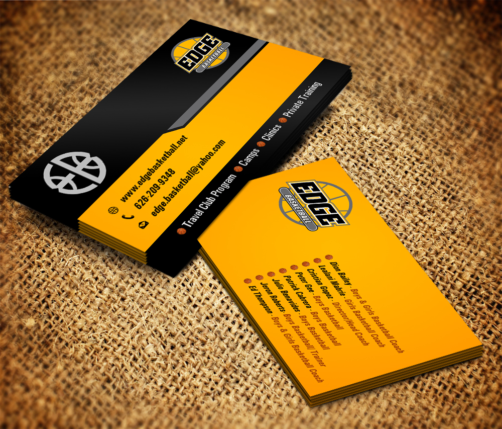 Design De Carte Visite Business Pour Edge Basketball En Aux United States