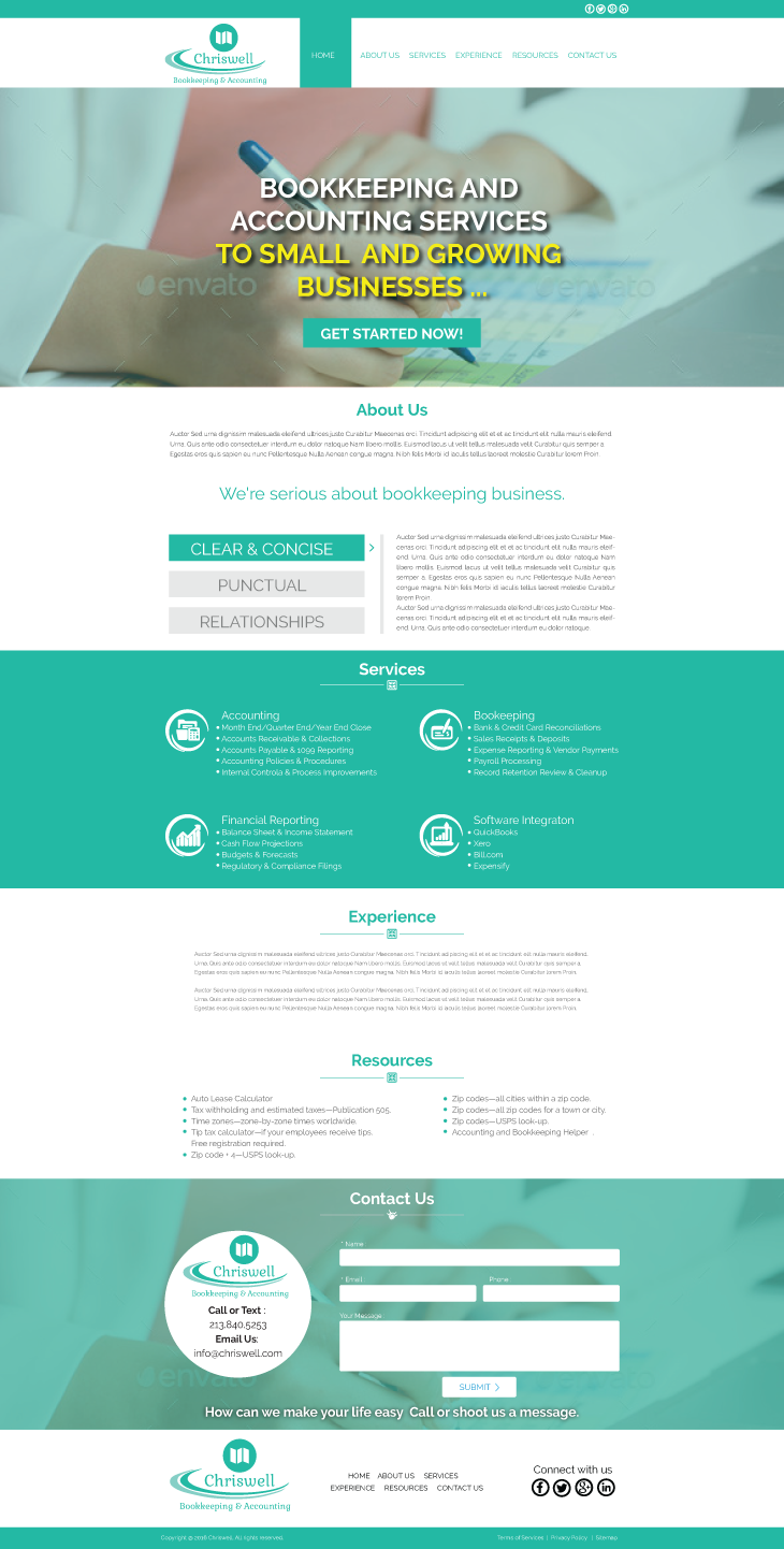 Serious, Traditional, Accounting Web Design for Chriswell Accounting