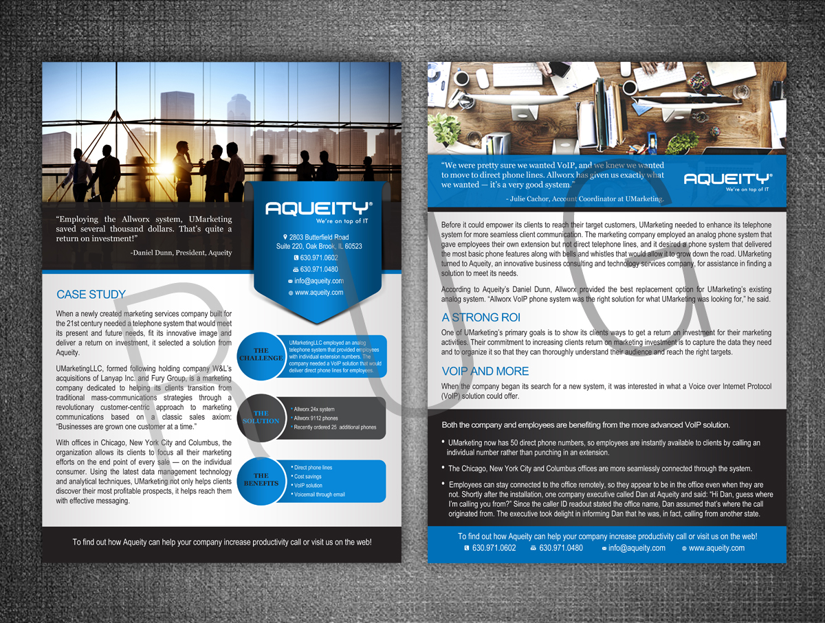 professional playful sales flyer design for aqueity inc by rug