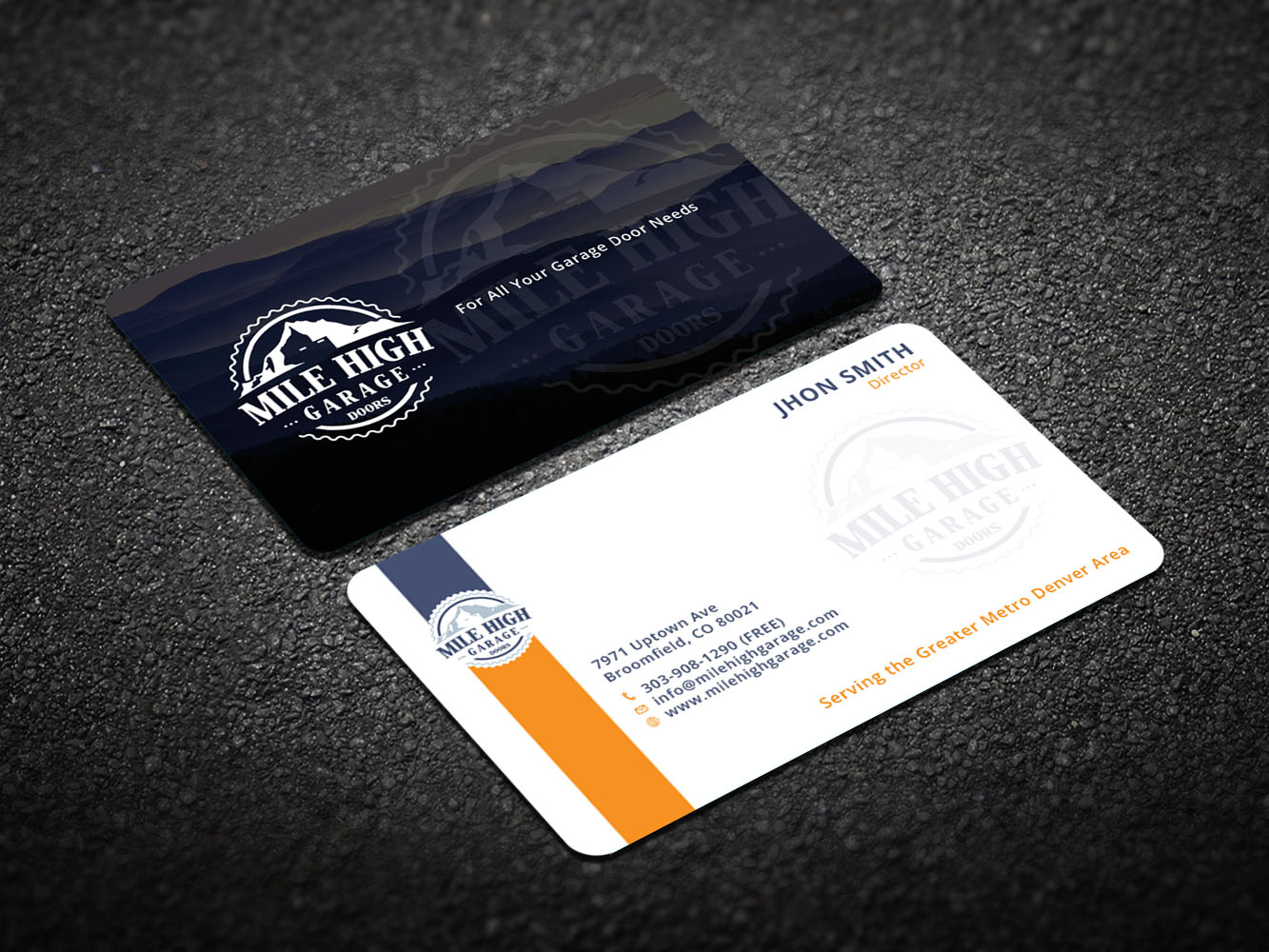 Business Card Design By Xeneration For Mile High Garage Door S Repair