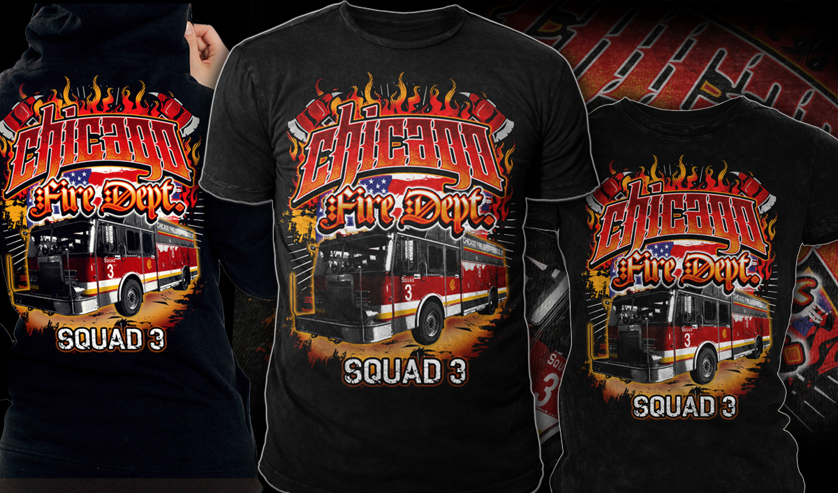 Professionell Modern Fire Department T Shirt Design Fur Chicago