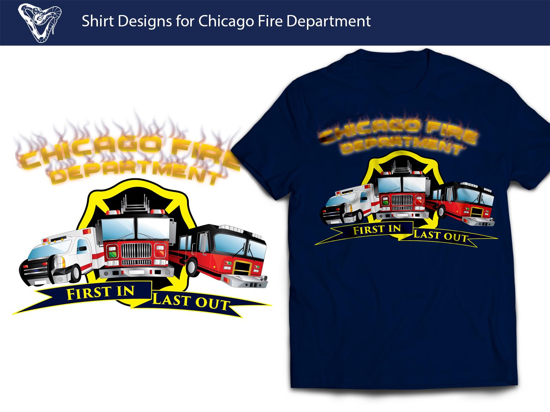 Fire Department Shirt Designs | Professional Modern Fire Department T Shirt Design For Chicago