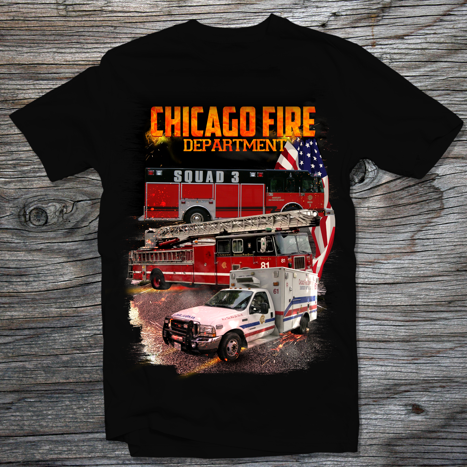 Professional Modern Fire Department T Shirt Design For Chicago