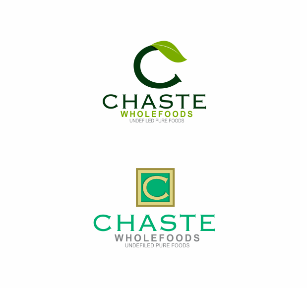 Playful, Personable, Food Store Logo Design for Chaste Wholefoods