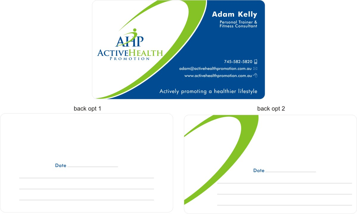 Elegant, Playful, Environment Business Card Design for Active Health ...