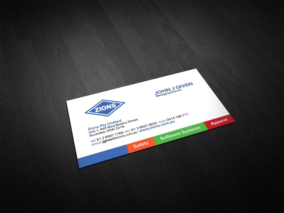 colorful modern business card design for john given by dirty emm