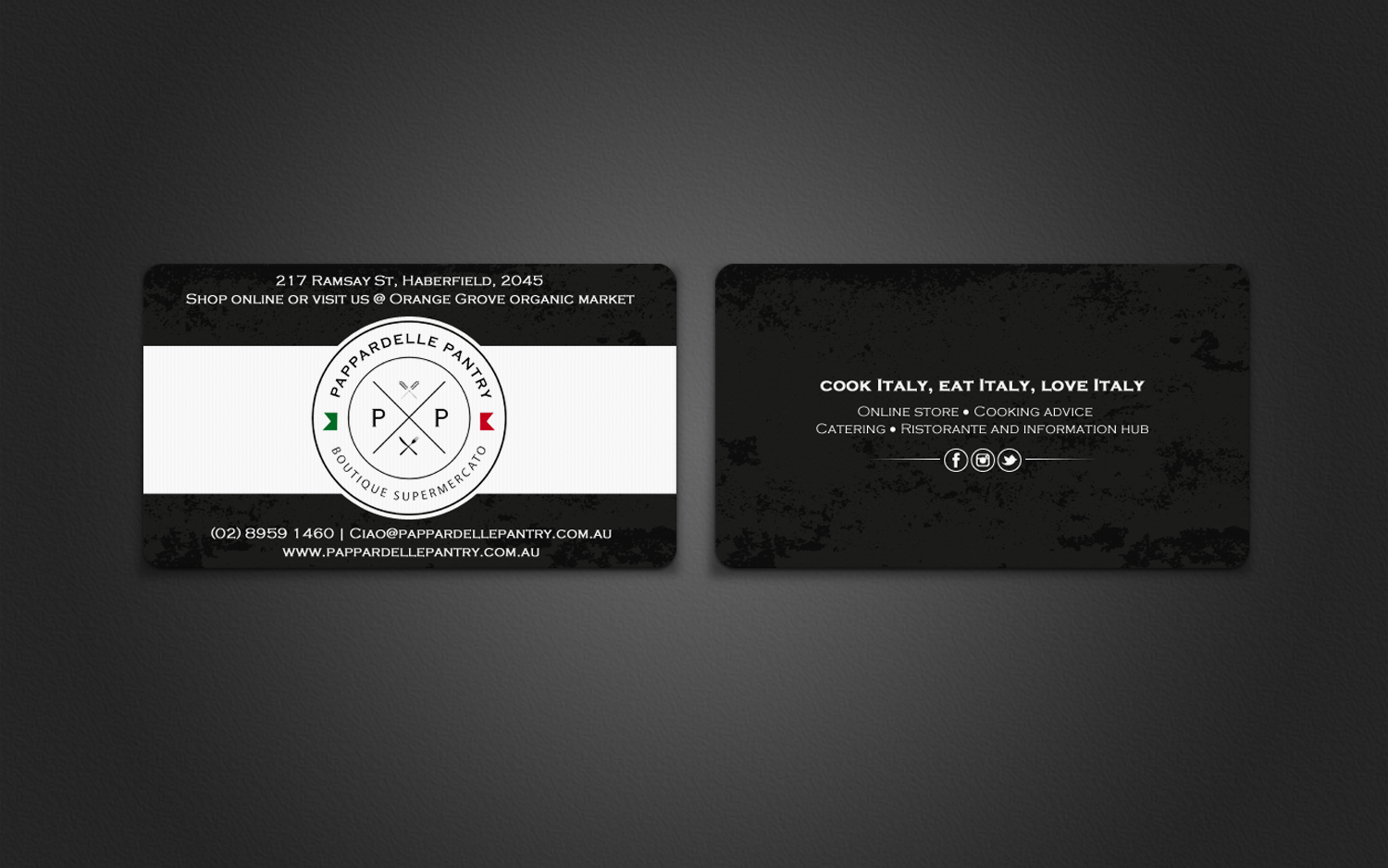 Upmarket, Personable, Store Business Card Design for Pappardelle ...
