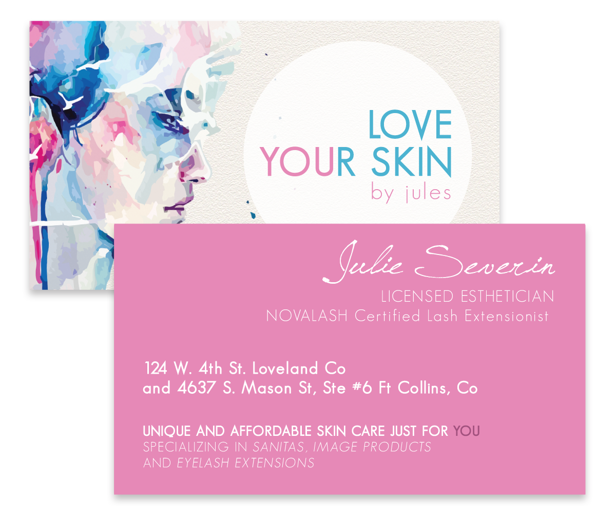 Business card design for julie severin by juice for breakfast business card design by juice for breakfast for unique and affordable skin care business needs new magicingreecefo Image collections