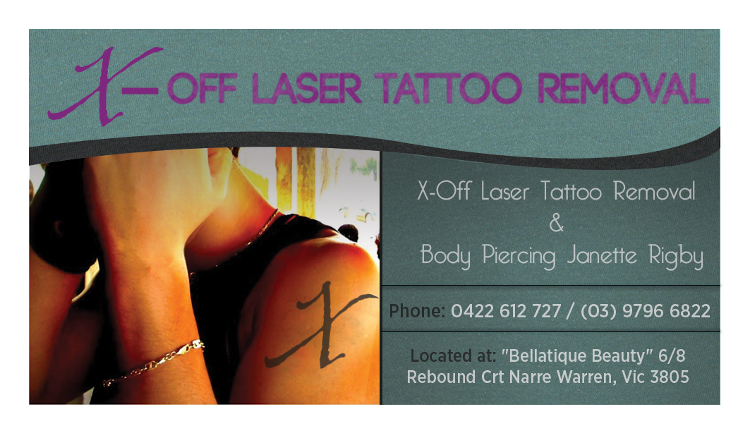 Bold modern tattoo business card design for x off laser for Tattoo removal business