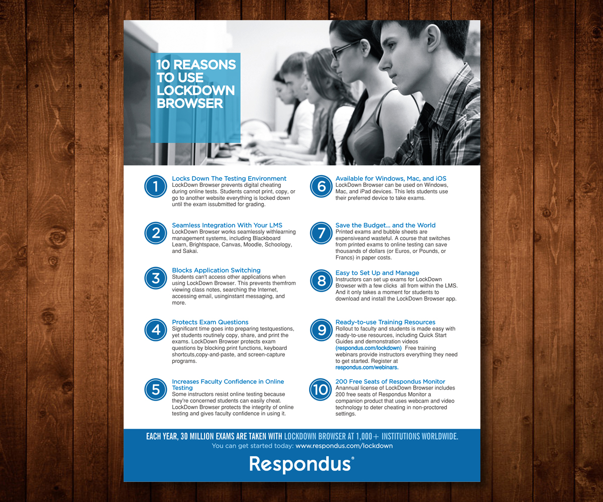 bold serious software flyer design for respondus by designers hub