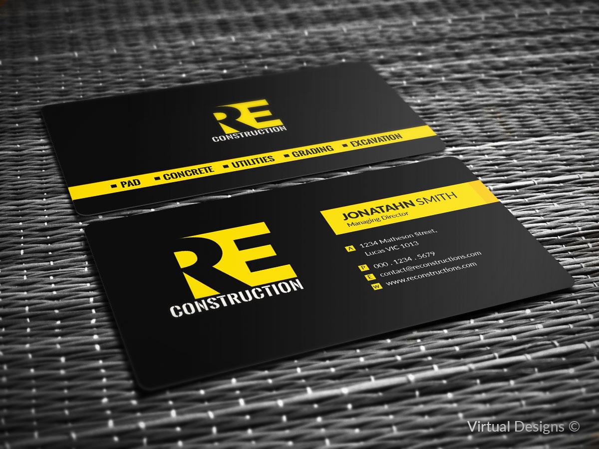 Bold serious business card design for rock e construction by business card design by virtual designs for new construction company looking for powerful bold logo colourmoves Choice Image