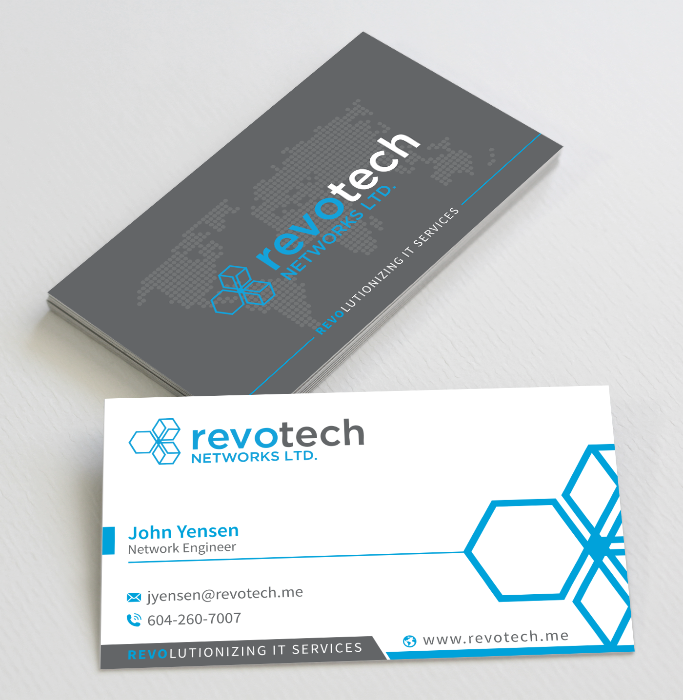 245 modern business card designs information technology business business card design by toyz86 for revotech networks ltd design 11013553 colourmoves