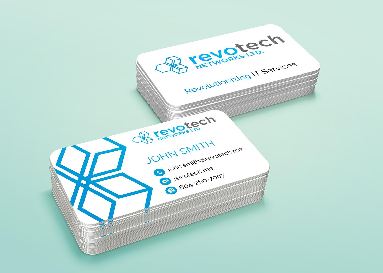 Modern Bold Information Technology Business Card Design For