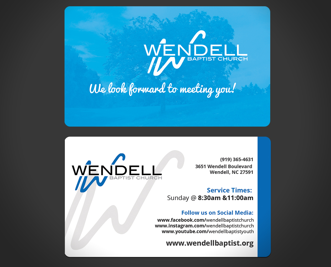 Bold playful church business card design for wendell baptist bold playful church business card design for wendell baptist church in united states design 10981557 reheart Choice Image