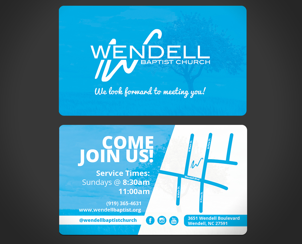 Bold Playful Church Business Card Design For Wendell Baptist In United States 10998141