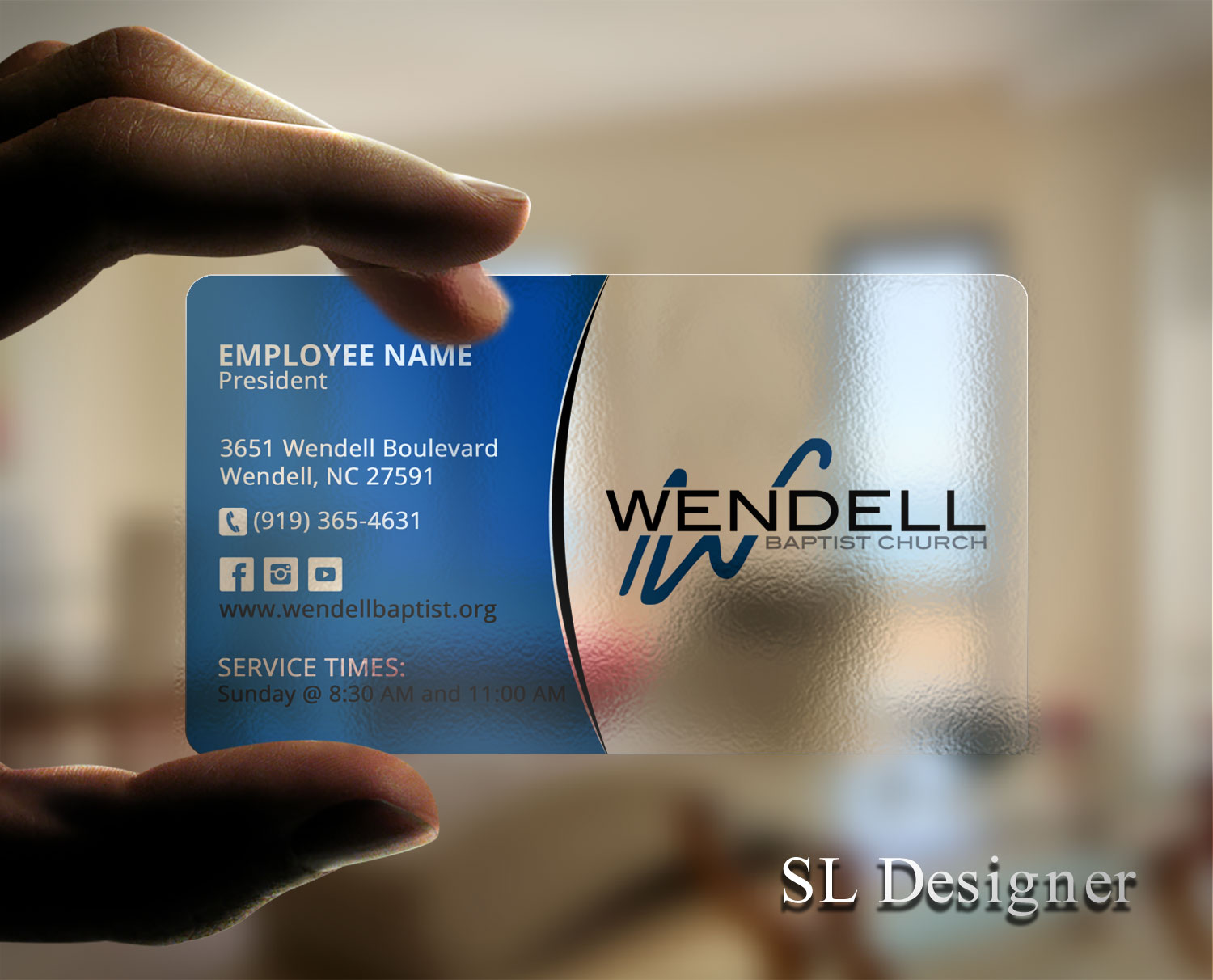 Bold, Playful, Church Business Card Design for Wendell Baptist ...
