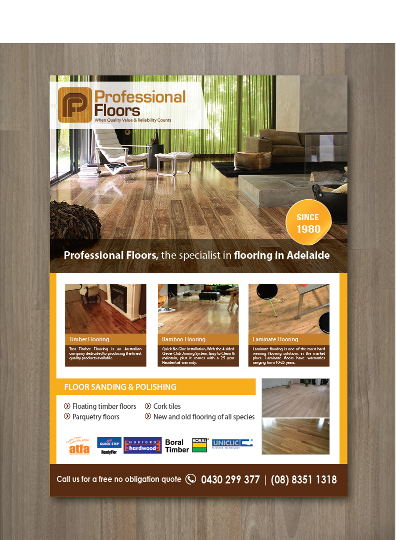 Bold Modern Flooring Flyer Design For Aaa Professional Floors By