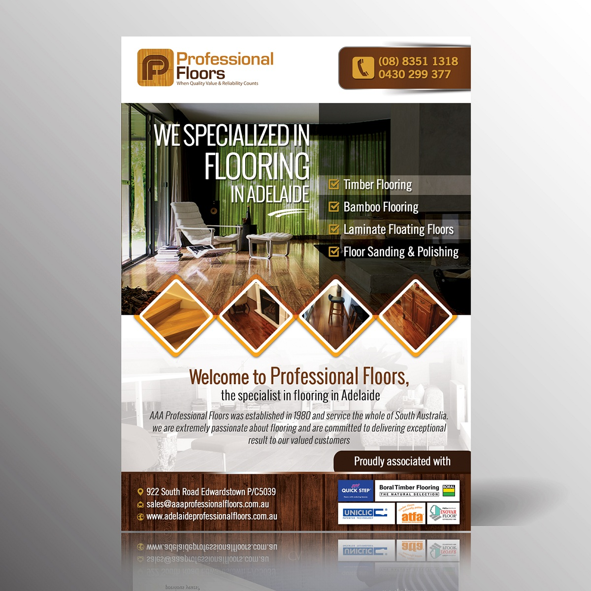 Bold Modern Flooring Flyer Design For Aaa Professional