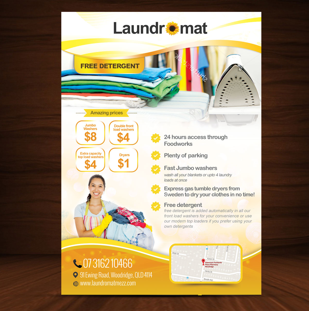 Playful personable coin flyer design for yellowfin for Laundry flyers templates