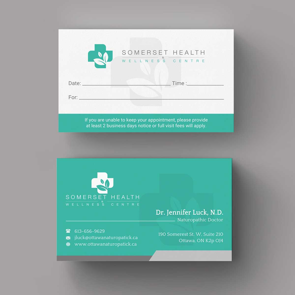 Serious, Upmarket Business Card Design for Somerset Health ...