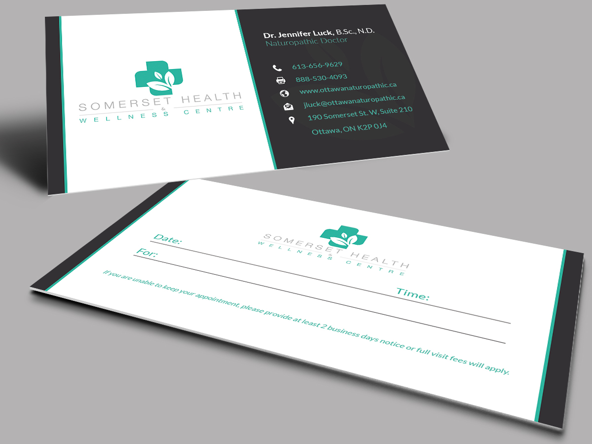 Serious upmarket health and wellness business card design for business card design by selda for somerset health wellness centre design 11026864 reheart Image collections