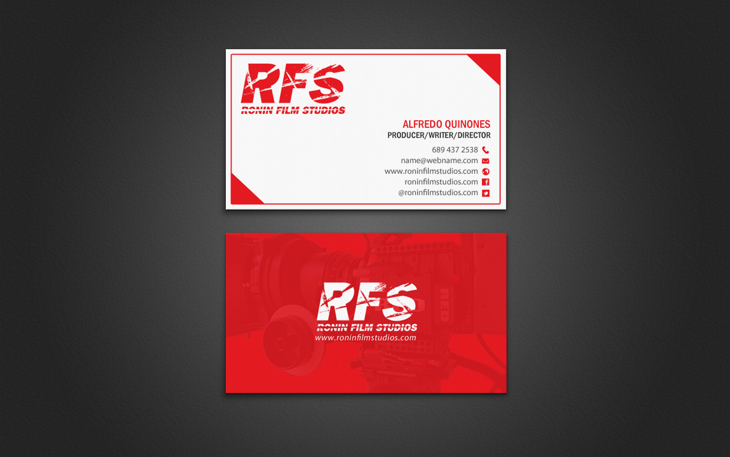 Professional bold film production business card design for a business card design by chandrayaaneative for this project design 11027841 colourmoves