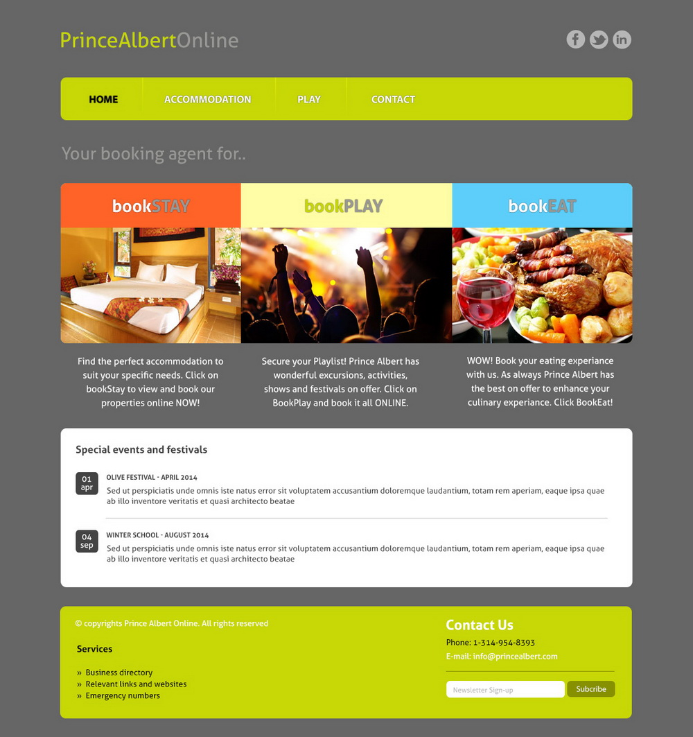 Elegant playful restaurant web design for a company by