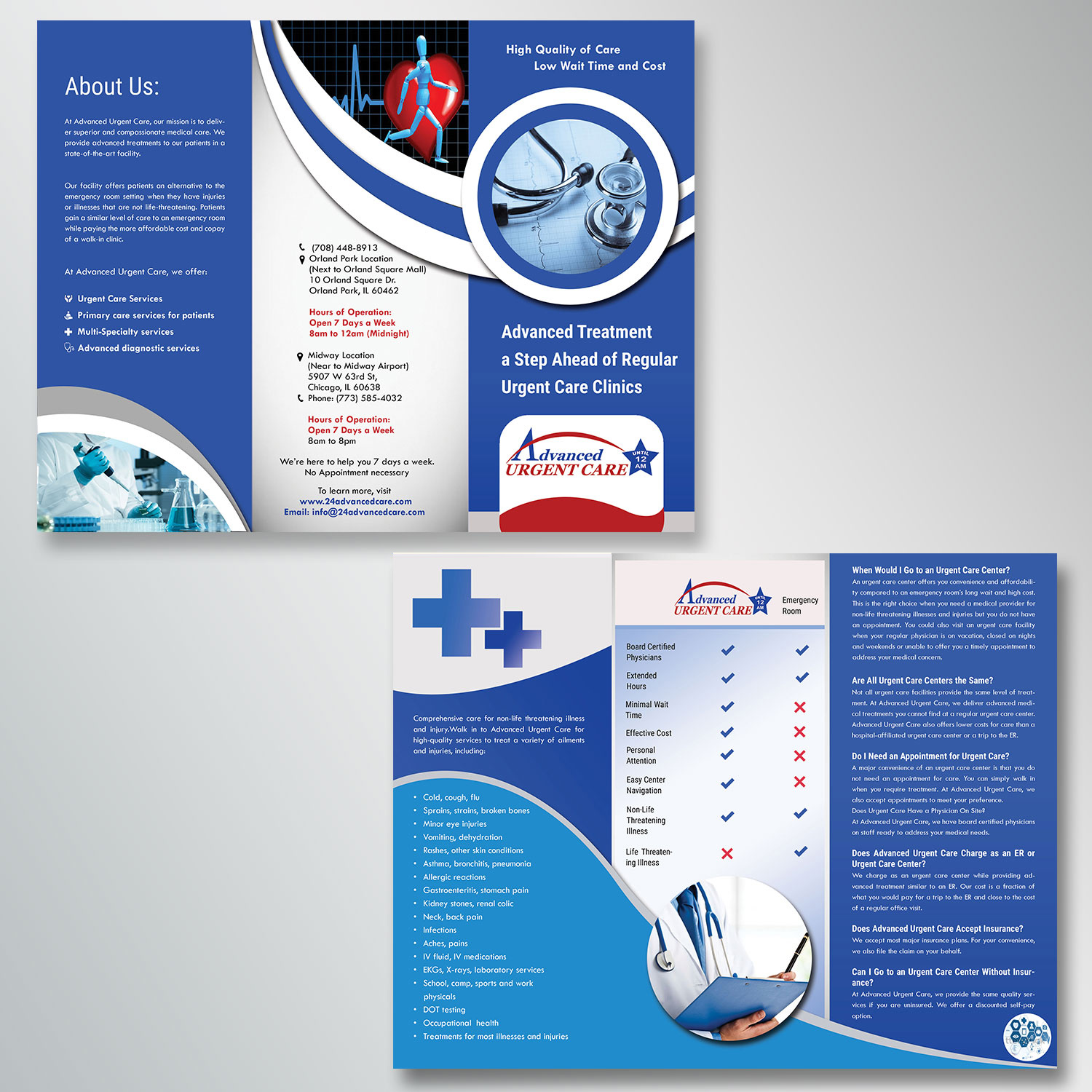 elegant professional medical flyer design for advanced urgent care