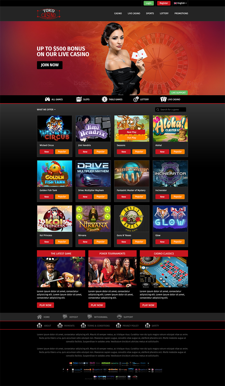 Bold Playful Casino Web Design For Toko Casino By Rupaltechno Design 11198220