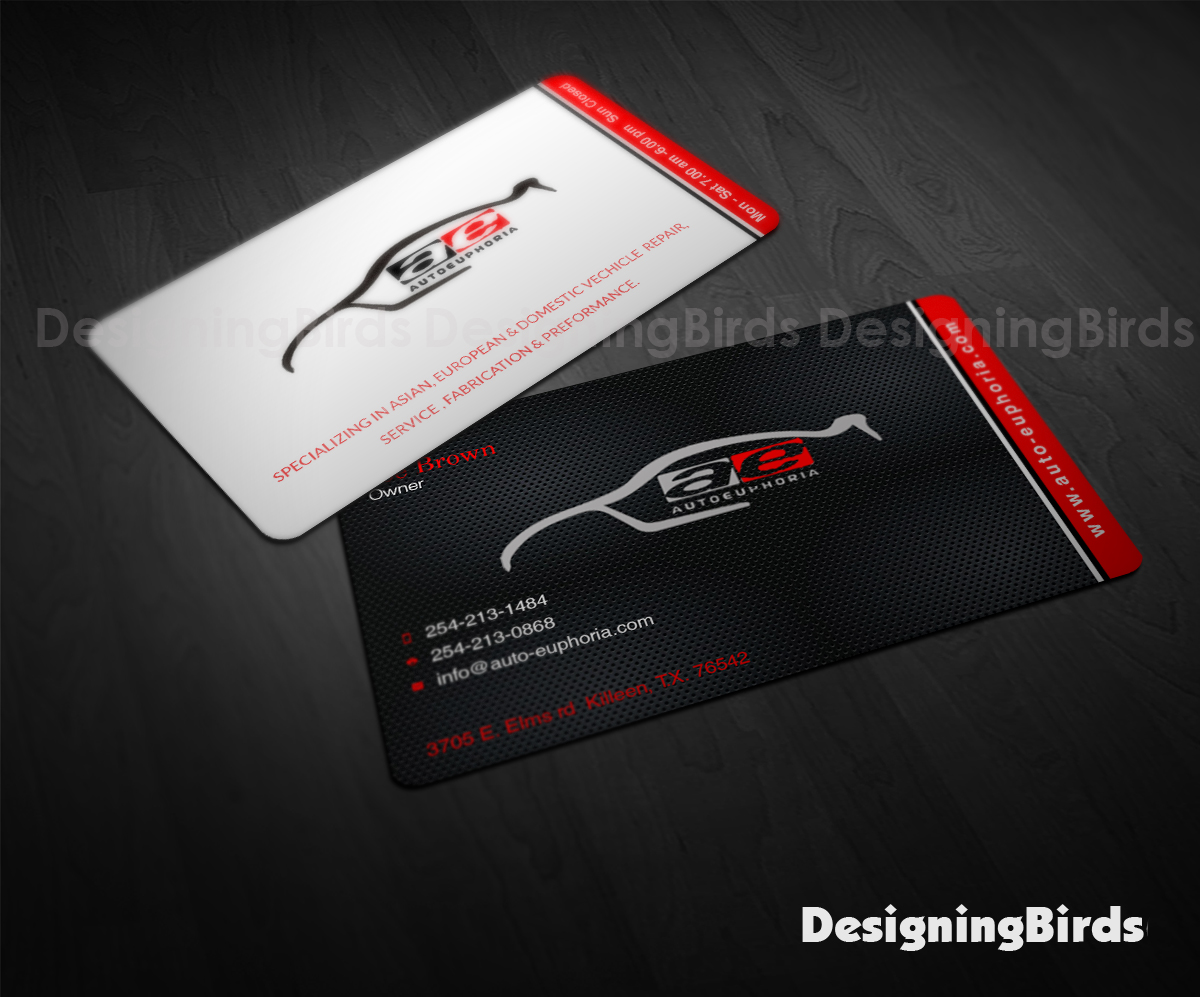 Modern upmarket automotive business card design for autoeuphoria business card design by designing birds for this project design 11105749 colourmoves
