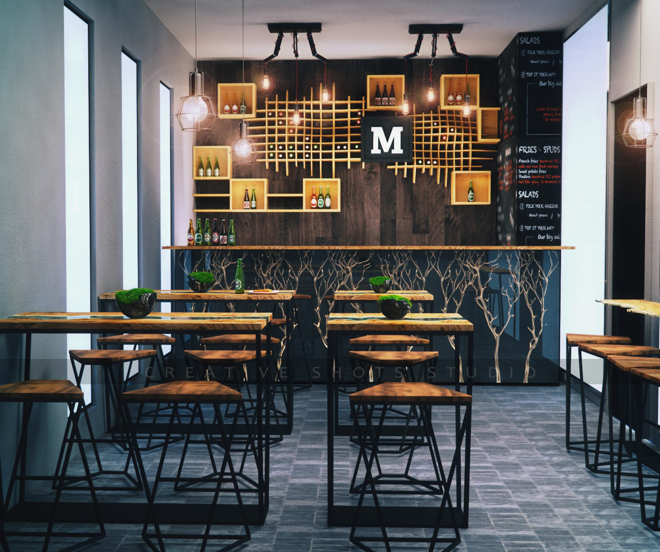 Upmarket serious restaurant d design for a company by