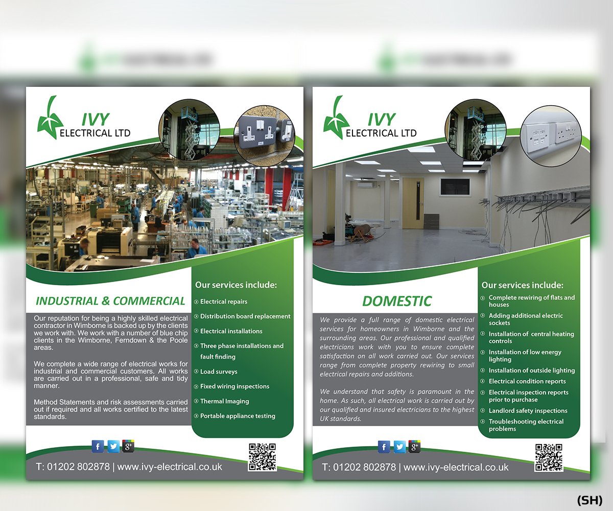 Upmarket, Modern, Contractor Flyer Design for Ivy Electrical by ...