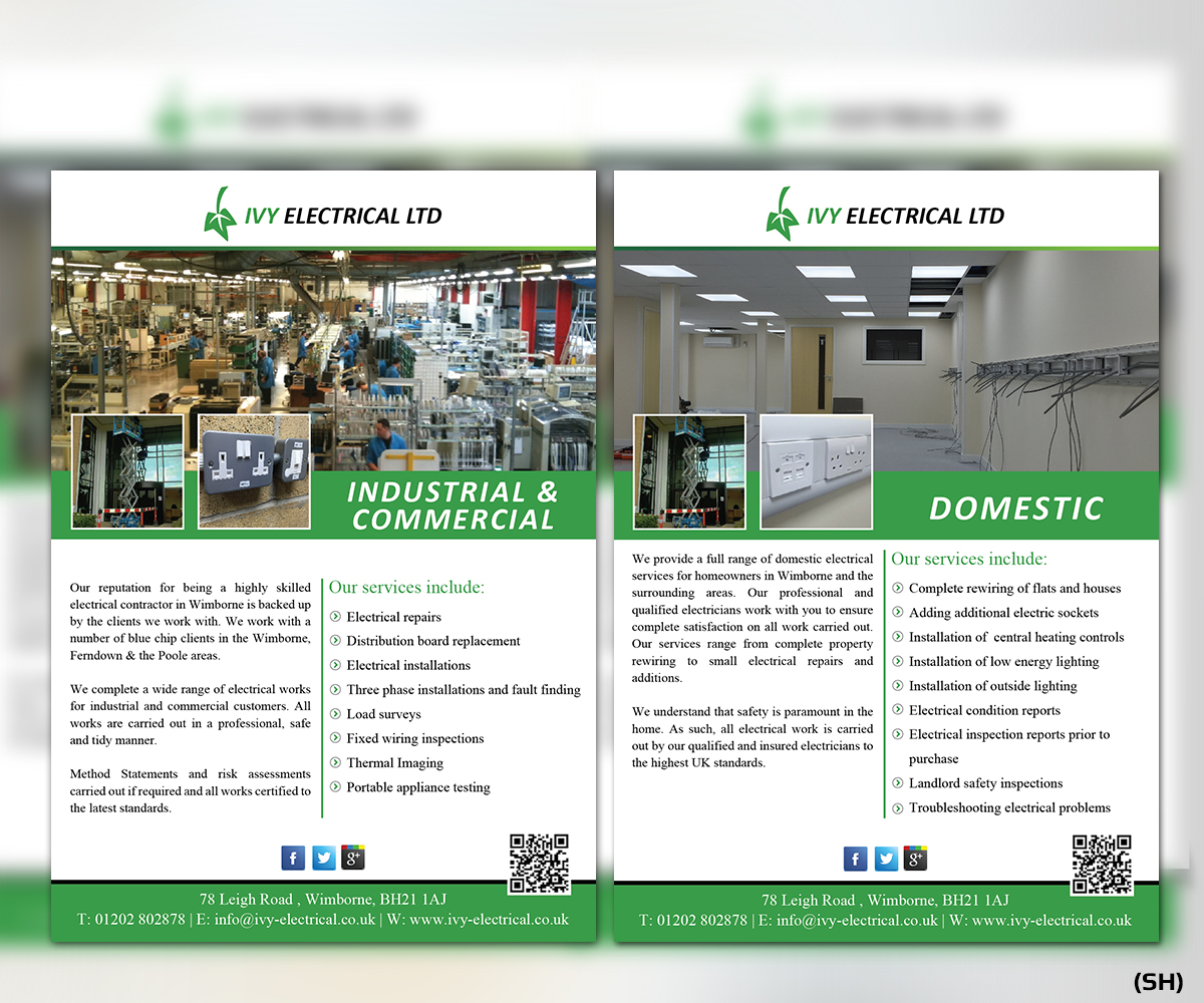 Upmarket Modern Contractor Flyer Design For Ivy Electrical By Domestic Fixed Wiring Tests Esolbiz 11195782