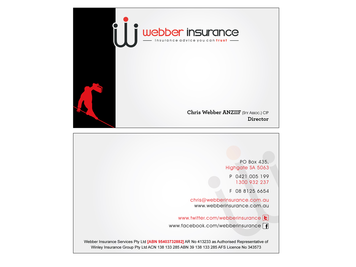 Modern bold insurance business card design for webber insurance business card design by murugeshdecign for webber insurance services design 499359 reheart Image collections