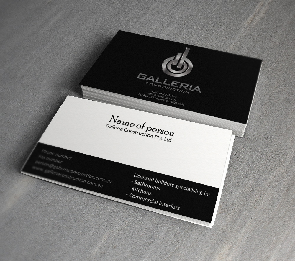 Bold, Serious, Construction Business Card Design for Galleria ...