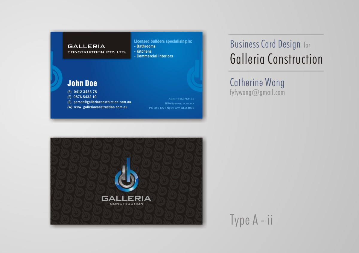 Bold serious business card design for galleria construction by business card design by catherine wong for business card design construction company design magicingreecefo Images