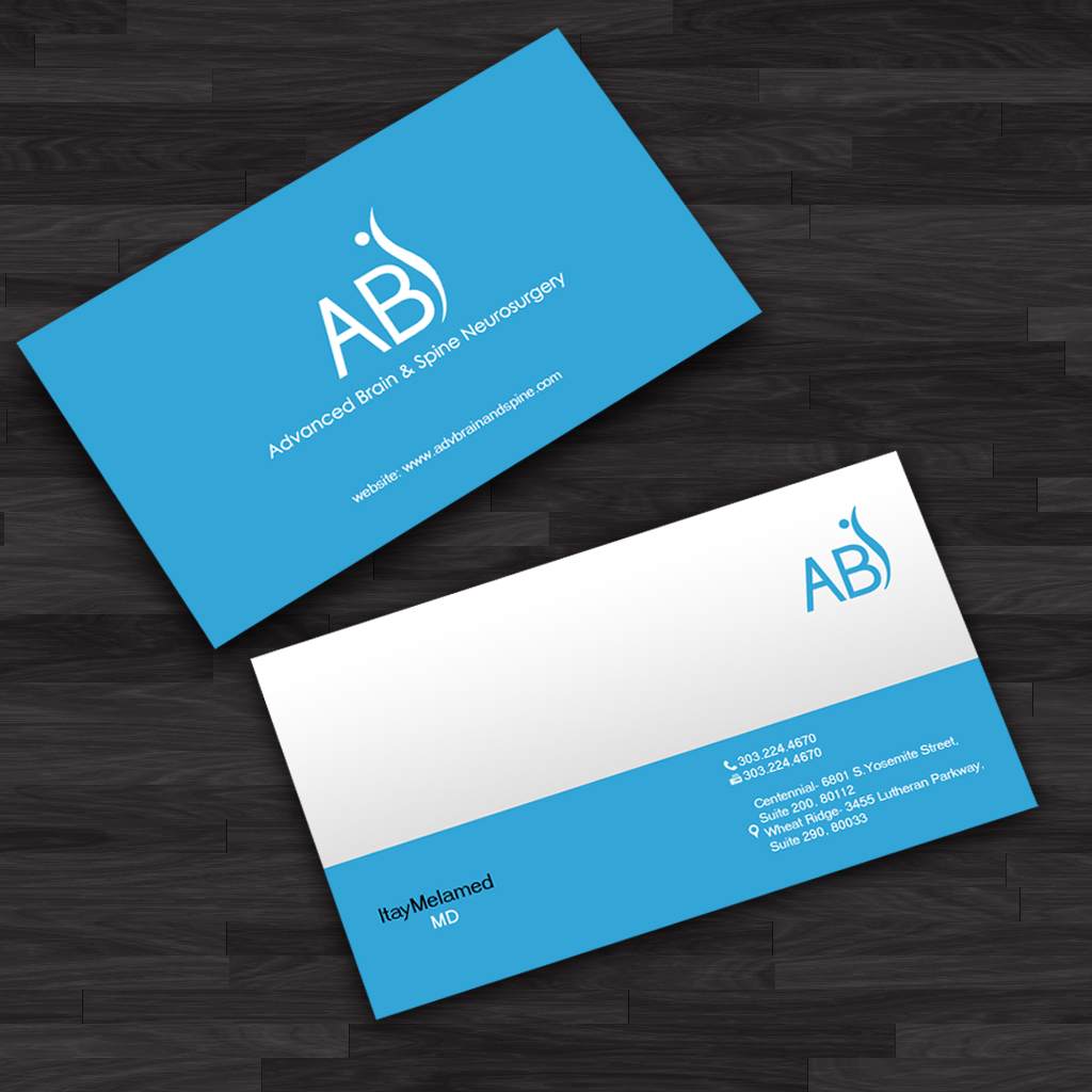 Serious bold doctor business card design for advanced brain business card design by ews webs for advanced brain spine design 11298475 colourmoves