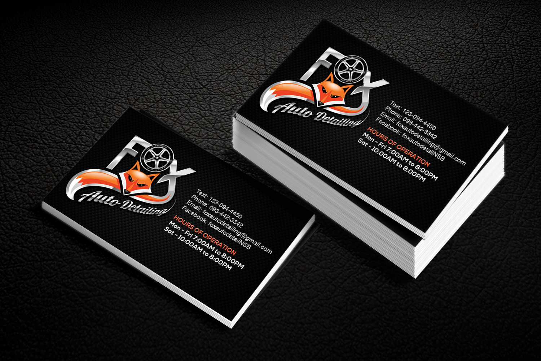 Bold professional automotive business card design for fox bold professional automotive business card design for fox automotive detailing in united states design 11211560 reheart Choice Image