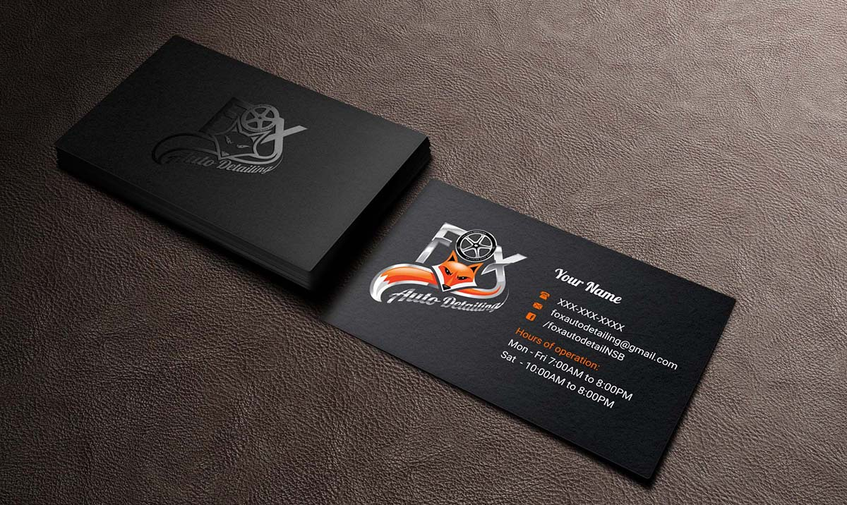 bold professional automotive business card design for fox automotive detailing in united states design 11216757 - Car Detailing Business Cards