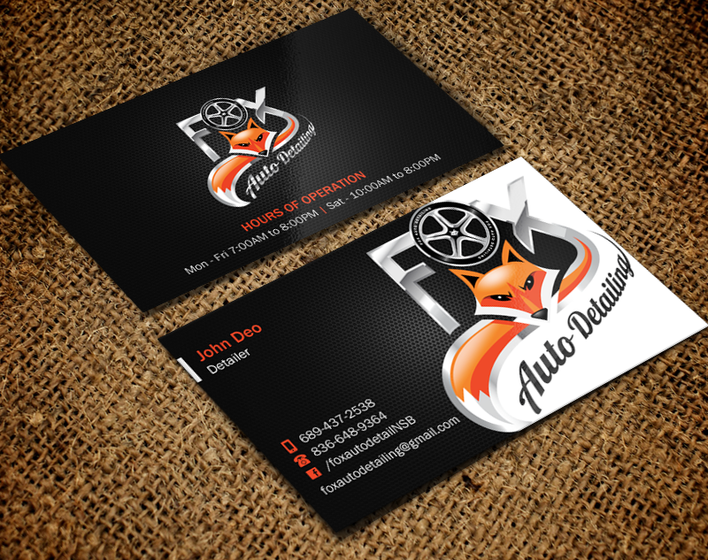 Bold professional automotive business card design for fox bold professional automotive business card design for fox automotive detailing in united states design 11251777 reheart Gallery