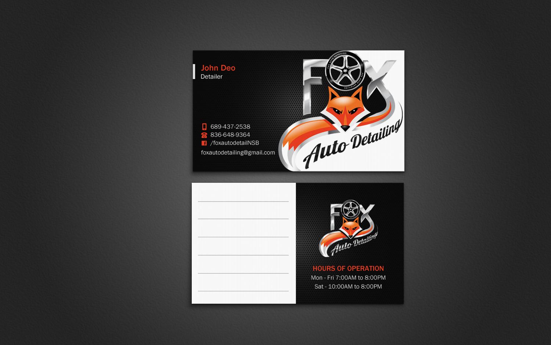Bold professional automotive business card design for fox bold professional automotive business card design for fox automotive detailing in united states design 11298411 reheart Choice Image