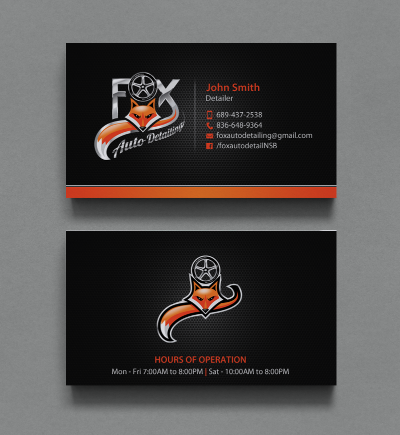 Bold, Professional Business Card Design for Fox Automotive Detailing ...