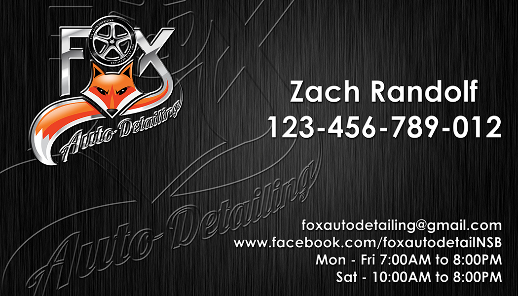 Bold professional automotive business card design for fox bold professional automotive business card design for fox automotive detailing in united states design 11208113 reheart Choice Image