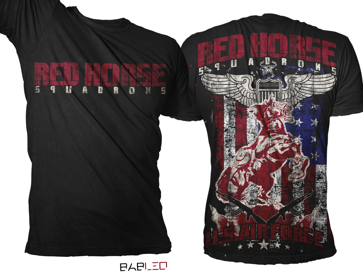 Design a t shirt horse - T Shirt Design By Bableo For Us Air Force Red Horse T Shirt Design